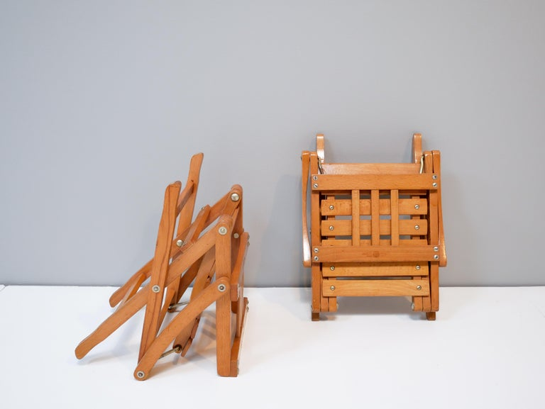 Childrens Foldable Chairs Made in Italy, Brevetti Reguitti, 1950s For Sale 1