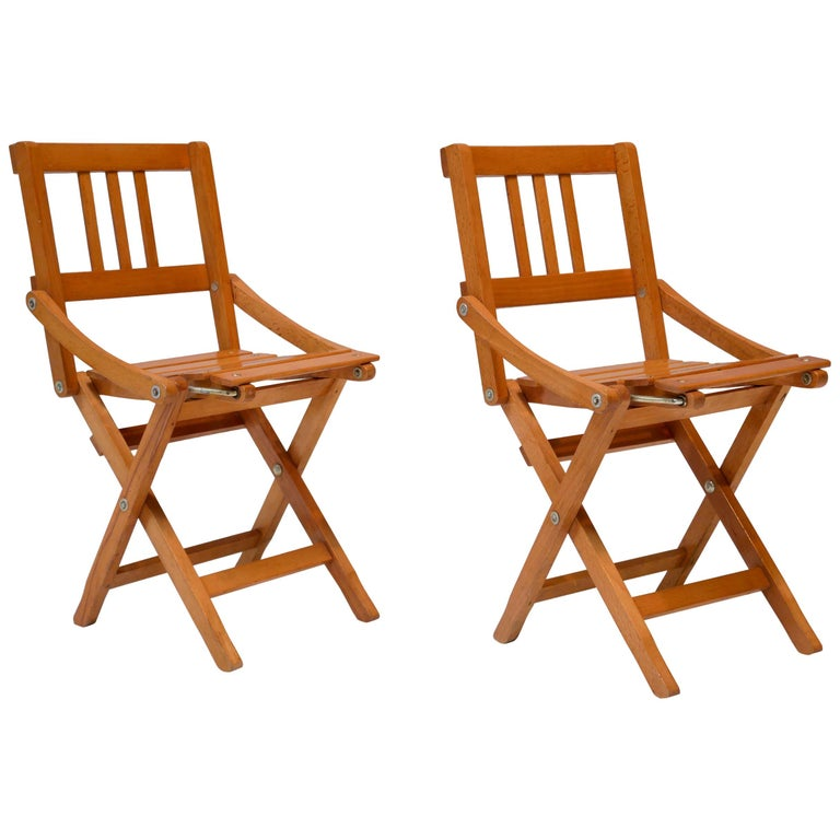 Childrens Foldable Chairs Made in Italy, Brevetti Reguitti, 1950s For Sale