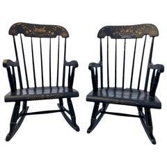 Children's Hitchcock Style Rocking Chair Black & Gilt Hand Painted Stencil, Pair