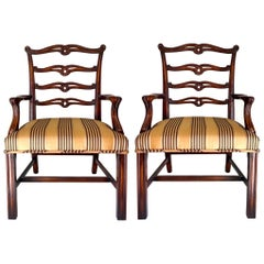 Children's Mahogany Bergere Chairs Attributed to Theodore Alexander, Pair