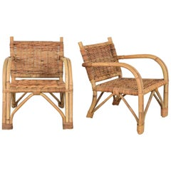 Children's Rattan and Wicker Chairs with Bent Arms Vintage Pair, 1930-1960