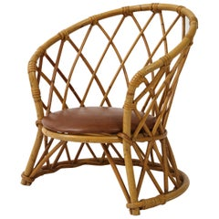 Childrens Rattan Chair with Brown Leather Seat, 1950s, France