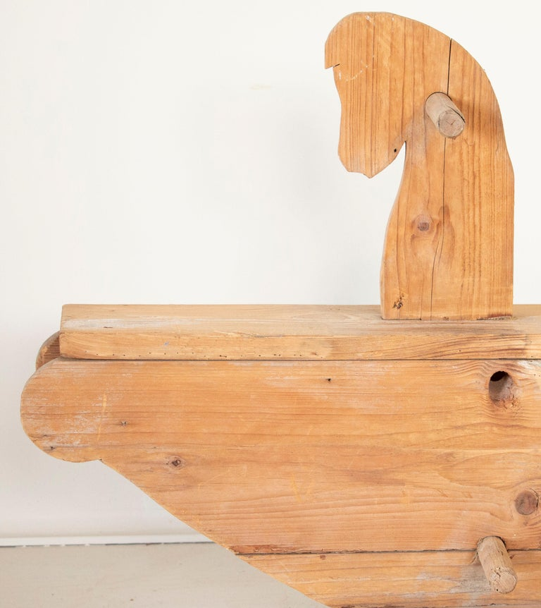 Painted Child's Antique Wooden Rocking Horse or Seesaw For Sale