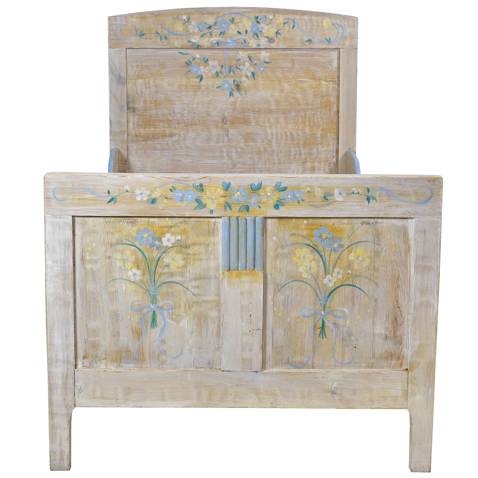 Child's Bed with Blue & Yellow Flowers over White Background, Europe, circa 1920
