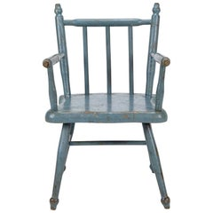 Child's Blue Painted Pine Chair, Denmark, circa 1900