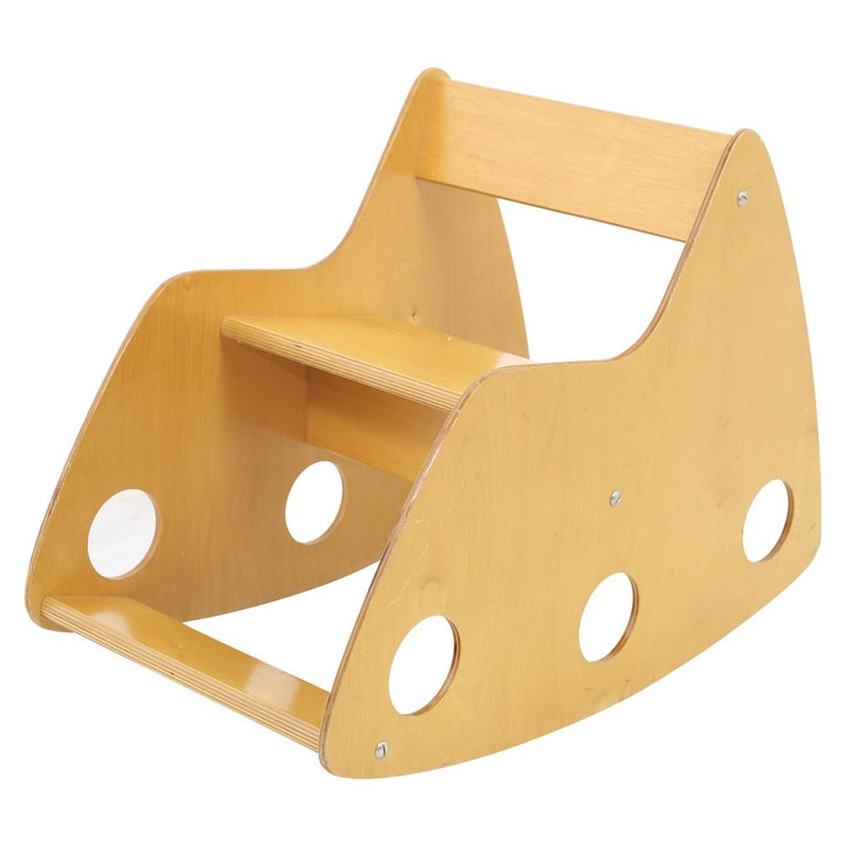 Childs plywood constructivist rocker made in the former. USSR, 1960s. A beautiful object as well as practical.