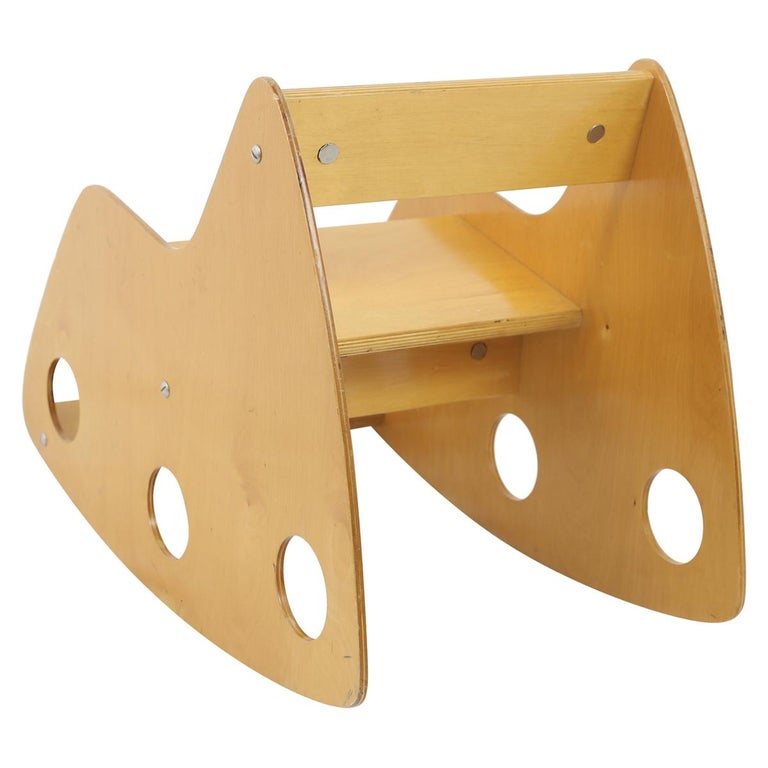 Mid-Century Modern Childs Constructivist Plywood Rocker made in the Former USSR, 1960s For Sale