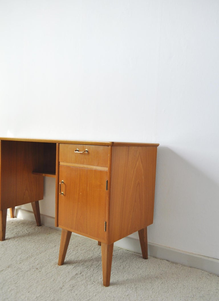 Scandinavian Modern Childs Executive Desk in Ash with Bowed Top, 1950s For Sale