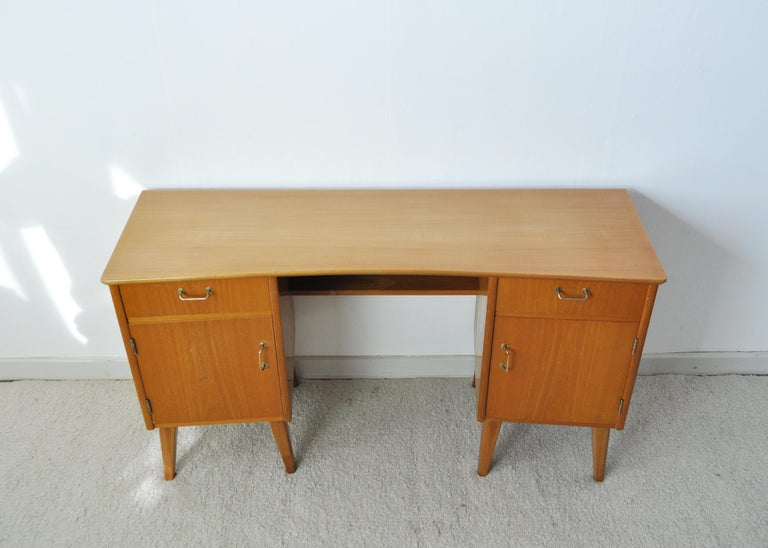 Danish Childs Executive Desk in Ash with Bowed Top, 1950s For Sale