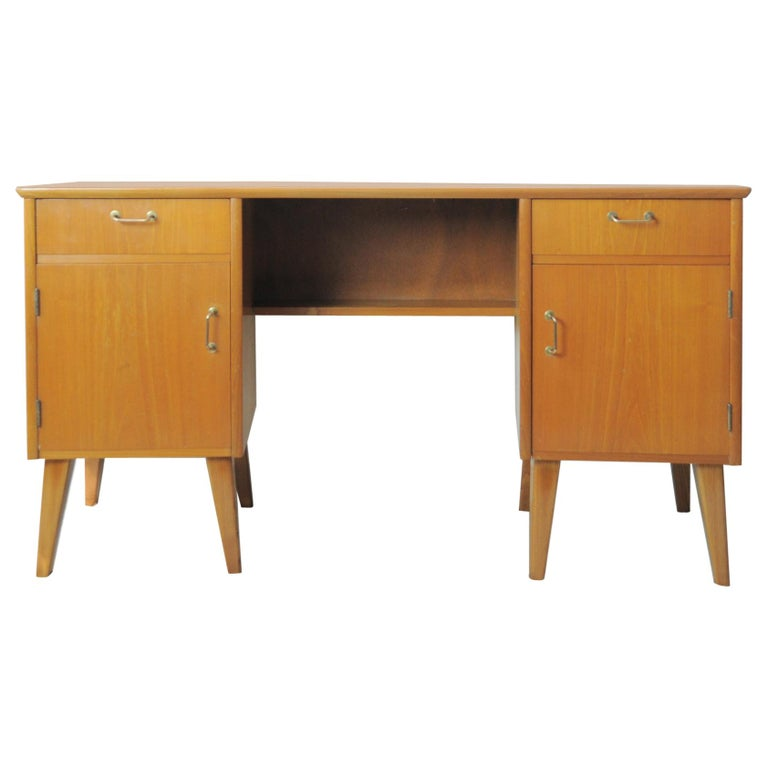 Childs Executive Desk in Ash with Bowed Top, 1950s For Sale