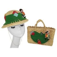 Child's Novelty Country Straw Hat & Tote Handbag, C.1960