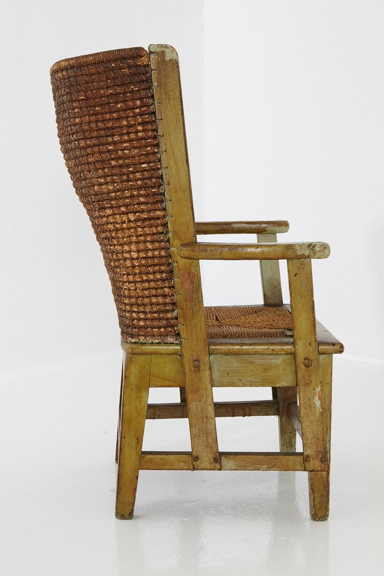 Child's Orkney Chair with Hand Woven Straw Back, Scotland, 19th Century For Sale 5
