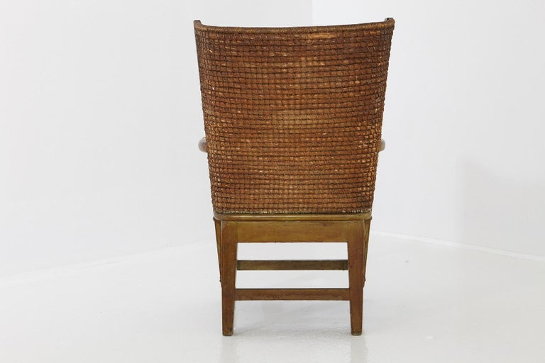 Rustic Child's Orkney Chair with Hand Woven Straw Back, Scotland, 19th Century For Sale