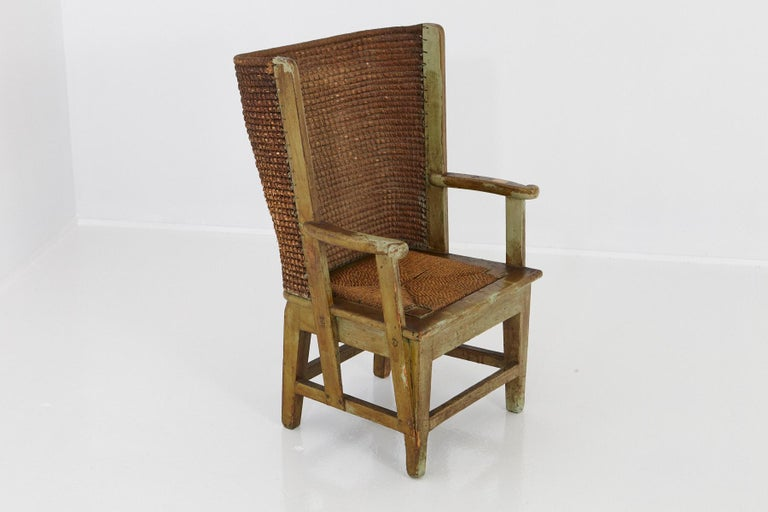 Scottish Child's Orkney Chair with Hand Woven Straw Back, Scotland, 19th Century For Sale