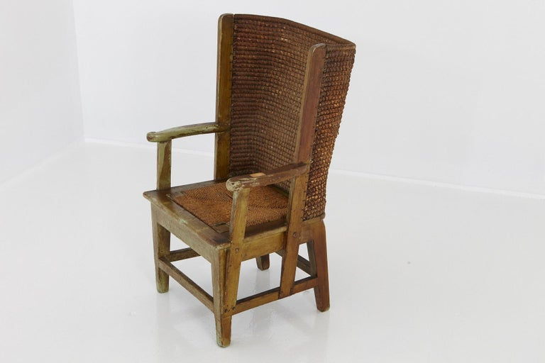 Hand-Woven Child's Orkney Chair with Hand Woven Straw Back, Scotland, 19th Century For Sale