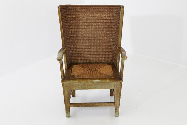 Child's Orkney Chair with Hand Woven Straw Back, Scotland, 19th Century In Good Condition For Sale In Weston, CT