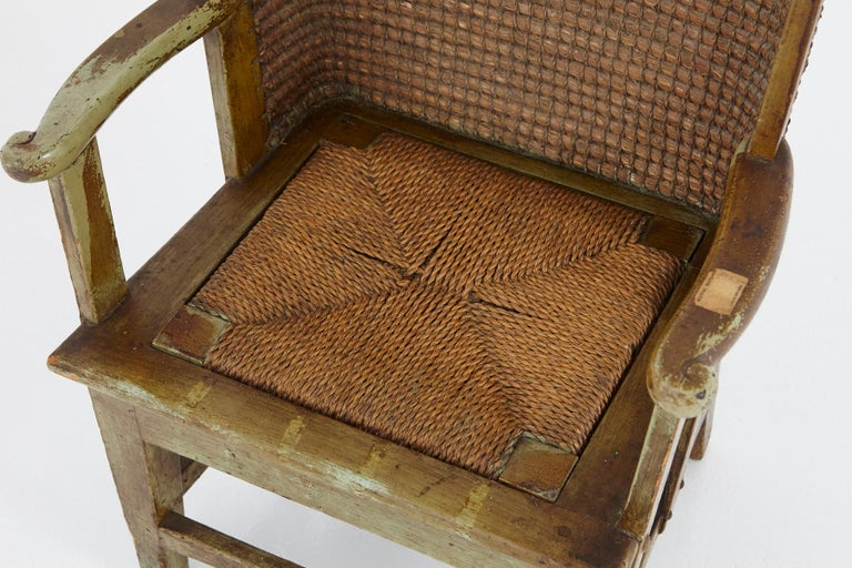 Child's Orkney Chair with Hand Woven Straw Back, Scotland, 19th Century For Sale 2
