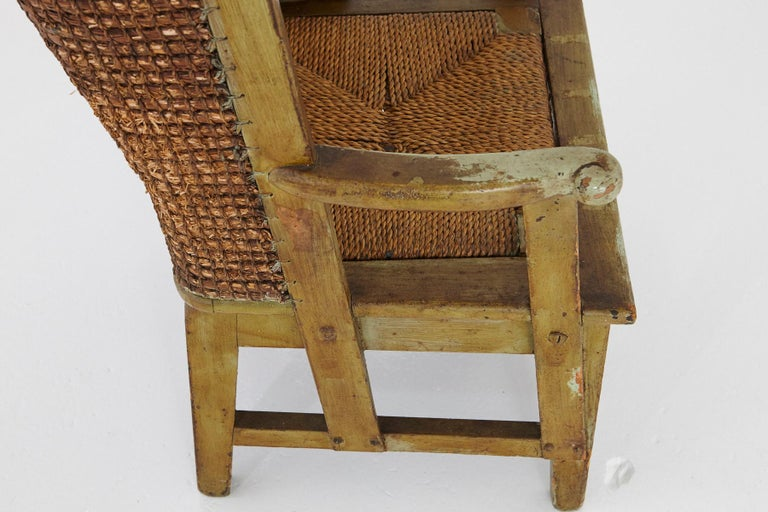 Child's Orkney Chair with Hand Woven Straw Back, Scotland, 19th Century For Sale 3