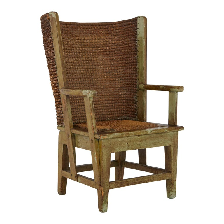 Child's Orkney Chair with Hand Woven Straw Back, Scotland, 19th Century For Sale