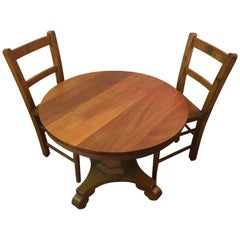 Child's Round Pedestal Table and 2 Chairs, American, circa 1900