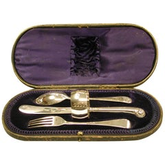 Child's Silver Knife, Fork and Spoon Set with Matching Napkin Ring, 1905