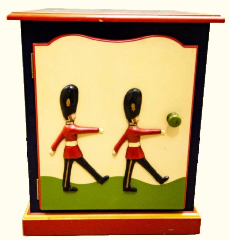 20th Century Child's Toy Soldier Design Hand Painted Nightstand For Sale