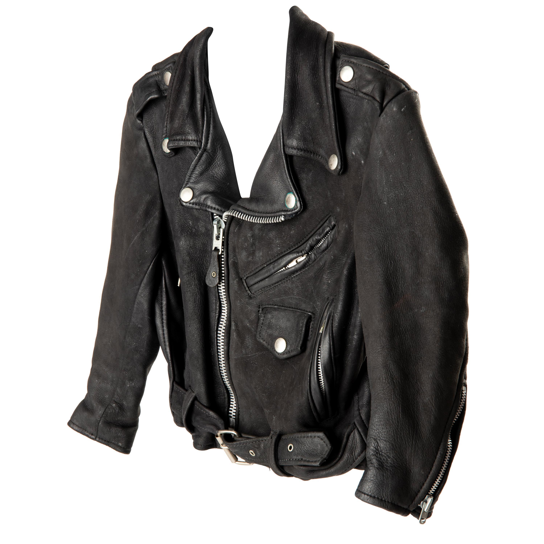 Child's Vintage 1980's Black Leather Motorcycle Jacket Size 8