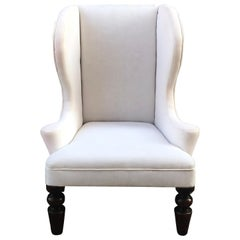 Child's Wingback Chair with Scrolled Arms and Mahogany Turned Legs, circa 1840