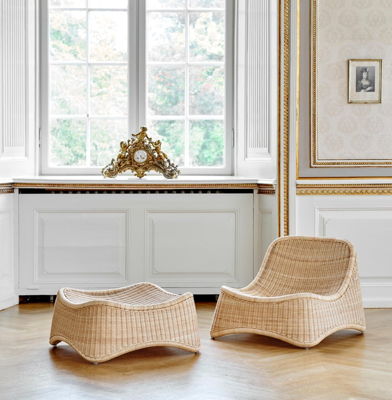 Rattan Chill Lounge Chair and Ottoman by Nanna Ditzel, New Edition For Sale