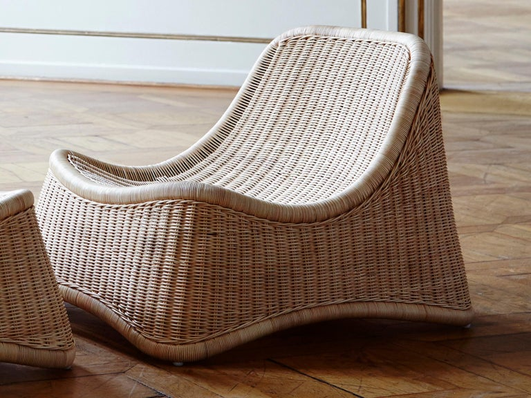 Copenhagen. She left in 1946, and the same year she founded her own design studio with her husband Jorgen Ditzel. The particular and ergonomic shape of this rattan chair ensures incredible comfort.  This Scandinavian outdoor armchair is made