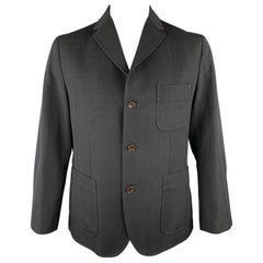 CHIMALA Black Wool / Linen Notch Lapel Patch Pocket Elbow Patches Sport Coat