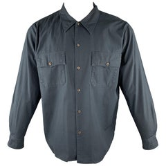CHIMALA Size M Navy Solid Cotton Button Up Long Sleeve Shirt