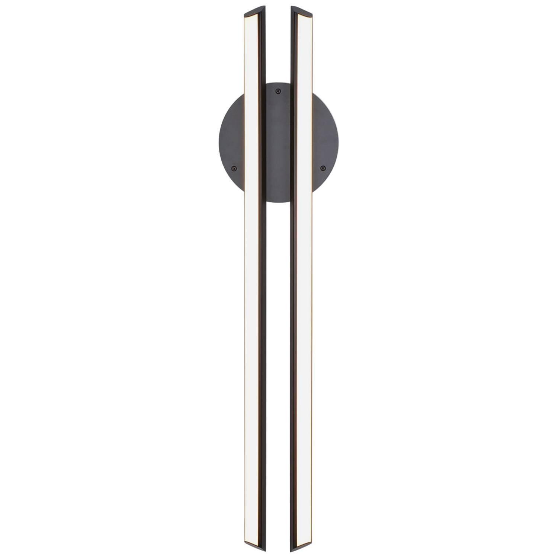 CHIME 35 - Black Vertical Geometric Modern LED Sconce Light Fixture