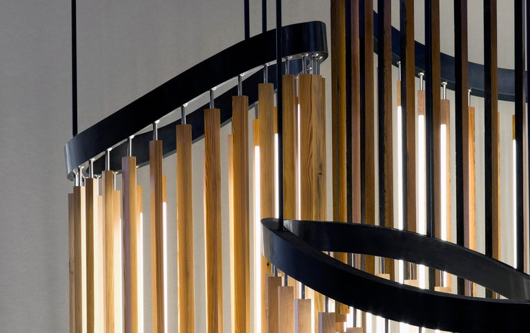 Hand-Crafted Chime Chandelier Led Wood Lamp in Ebonized Oak and Matte Black by Stickbulb For Sale