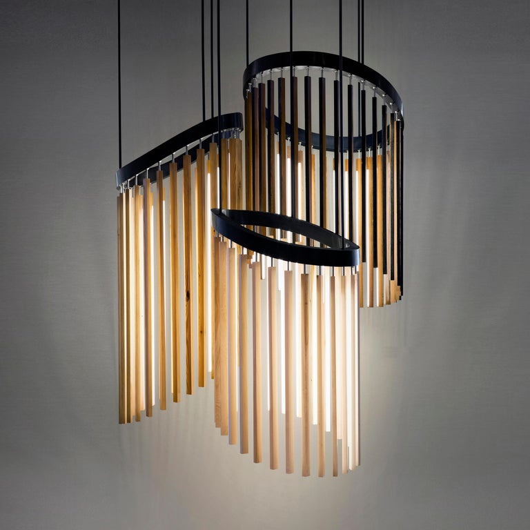 American Chime Chandelier Led Wood Lamp in Ebonized Oak and Matte Black by Stickbulb For Sale