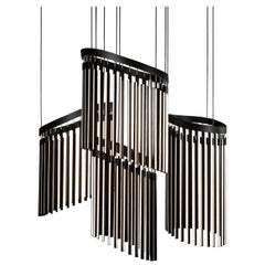 Chime Chandelier Led Wood Lamp in Ebonized Oak and Matte Black by Stickbulb