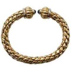 Chimento Bi-Color Gold and Sapphire Flexible Bangle
