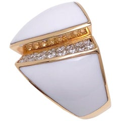 Chimento 18 Karat Rose Gold Desiderio Ring with White Agate and Diamonds