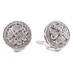 Chimento 18 Karat White Gold 1.00 Carat Diamond Floral Earrings