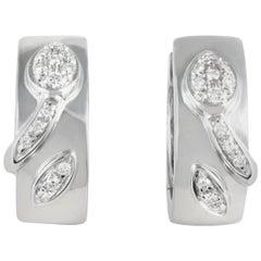 Chimento 18 Karat White Gold Partial Diamond Pave Petite Hoop Earrings