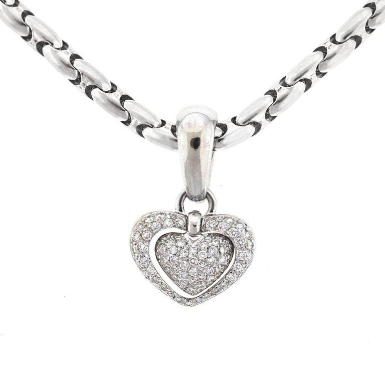 Chimento 18 Karat White Gold Pave Diamond Heart Necklace