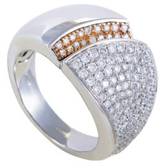 Chimento Desiderio Womens 18 Karat Gold Partial Diamond Pave Band Ring
