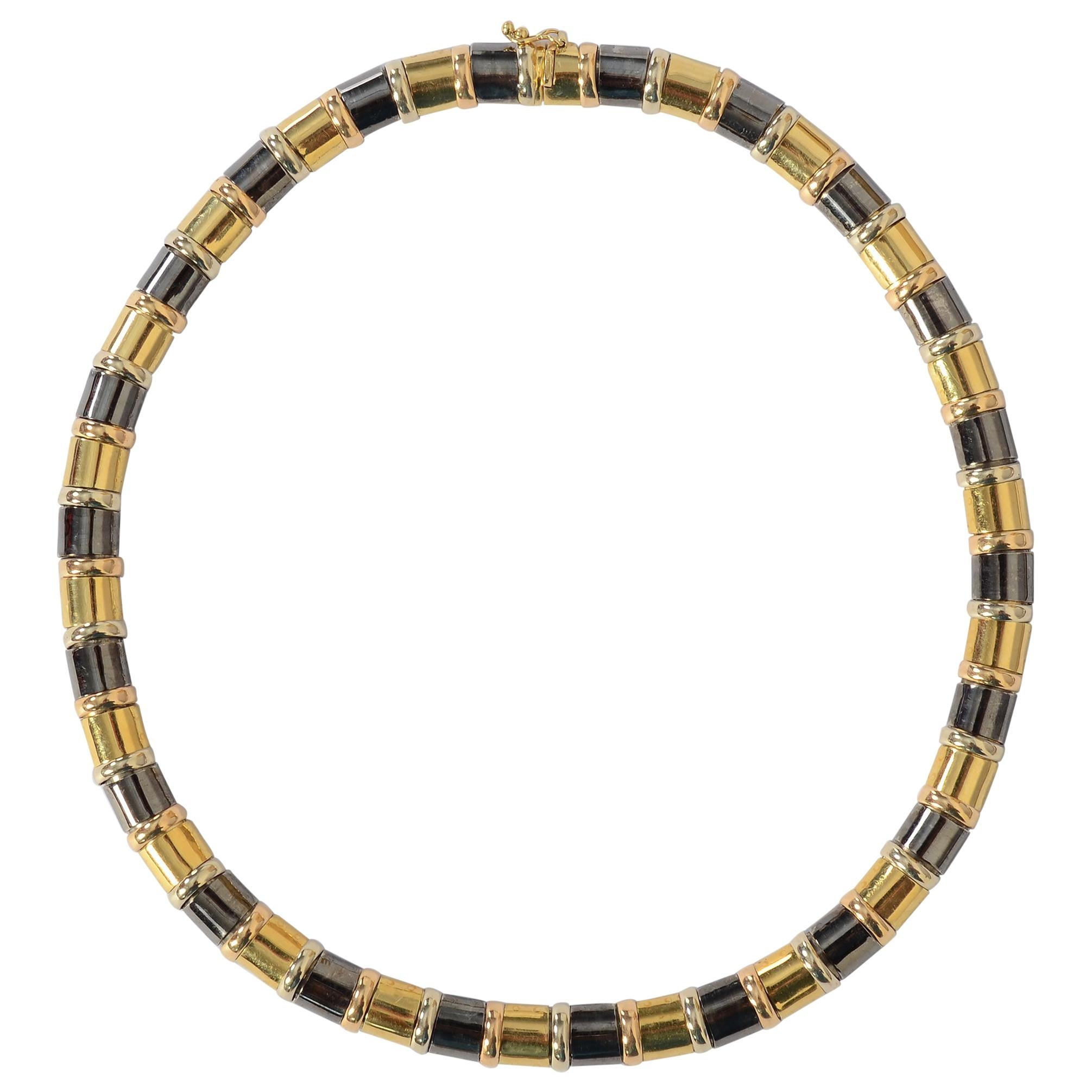 Chimento Gold and Blackened Silver Choker Necklace