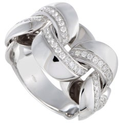 Chimento Link 18 Karat White Gold Diamond Pave Band Ring