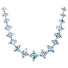Chimento Marilyn Women's 18 Karat White Gold Aquamarine and Diamond Necklace