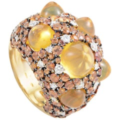 Chimento Moonrise 18 Karat Yellow Gold Orange Gem and Diamond Ring