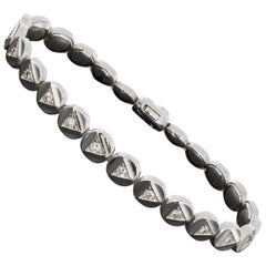 Chimento White Gold Triangle Shapes 1.17 Carat Round Diamond Tennis Bracelet
