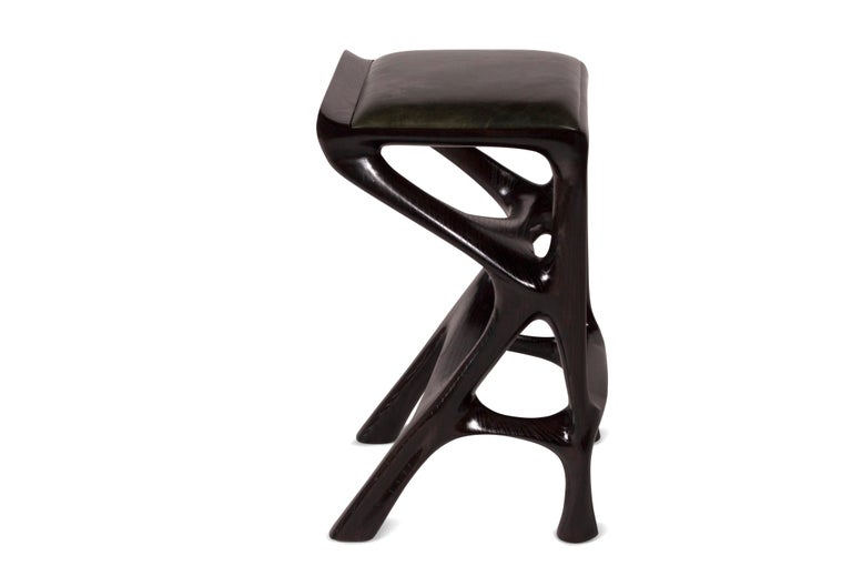 American Amorph Chimera Bar stool Solid Wood with Ebony Finish Counter Height For Sale