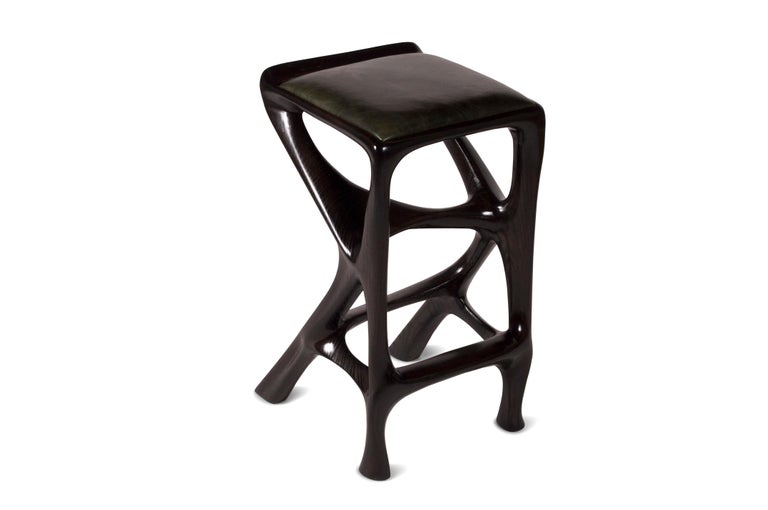 Carved Amorph Chimera Bar stool Solid Wood with Ebony Finish Counter Height For Sale