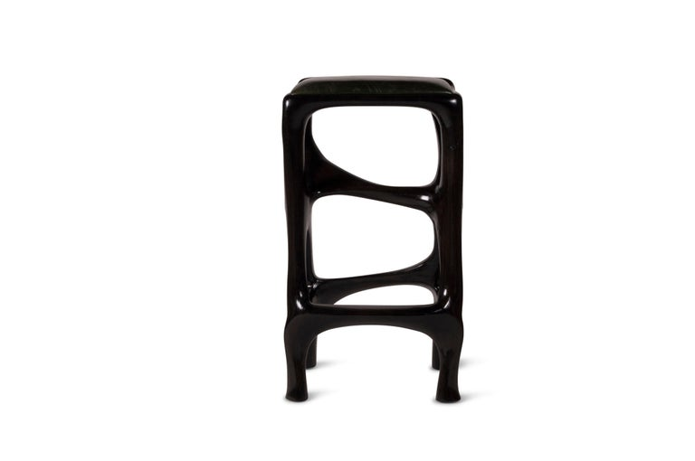 Amorph Chimera Bar stool Solid Wood with Ebony Finish Counter Height In New Condition For Sale In Gardena, CA
